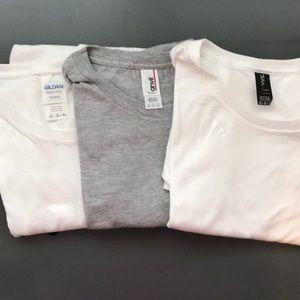 3 brand new t shirts Anvil & Gildan - white & gray
